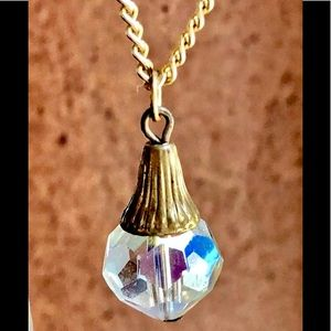 Vintage Clear Crystal Teardrop Pendant Necklace